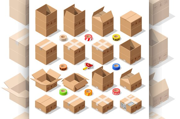 Cardboard Delivery Box Packaging 3D