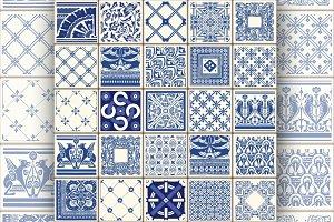 Azulejos Blue Vintage Vector Pattern