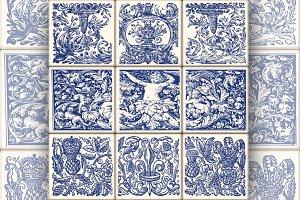 Oriental Tile Blue Vintage Pattern