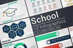 School Modern Infographics Vectors