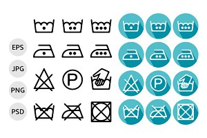 Set of instruction washing icons