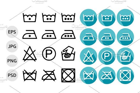 54 Textile Care Symbols Vector Set Icons Creative Market