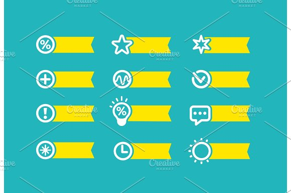 With Yellow Flag Set Of Icons On A Blue Background For Technical Appliance Devices Vector Set