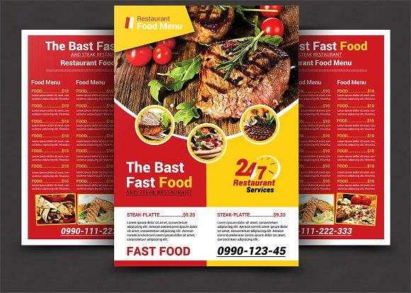 restaurant menu flyer templates creative market
