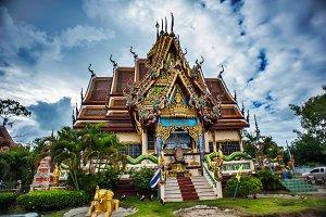 Pagoda with blue sky in Thailand