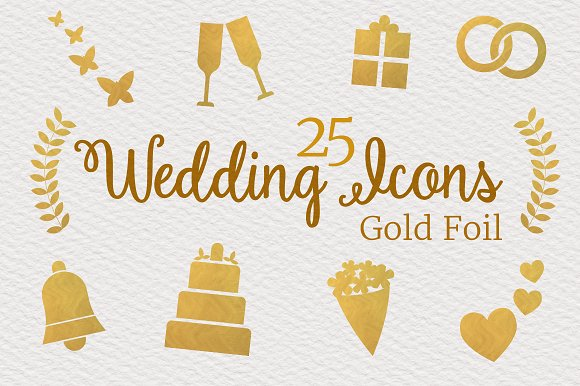 25 Gold Foil Wedding Icons