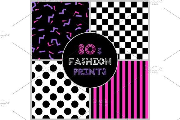Cute Set Of Four 80's Style Trendy Seamless Patterns
