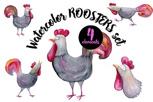 Watercolor Roosters Set