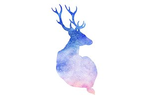 Watercolor galaxy space deer isolate
