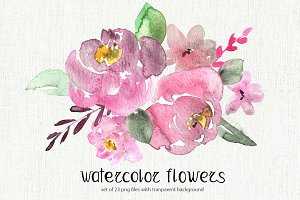 Watercolor pastel flowers set