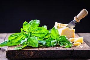 Parmesan cheese and basil.