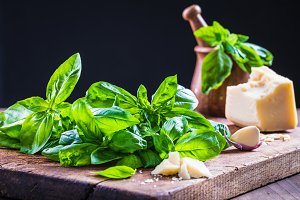 Ingredients for basil pesto sauce.
