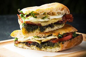 Tasty sandwich with fried egg