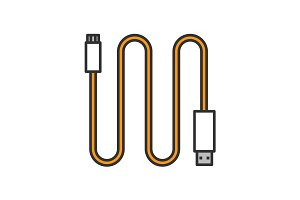 Mini USB cable color icon