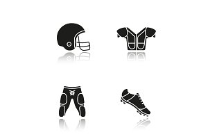 American football player's uniform. Drop shadow black icons set