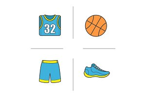 Basketball color icons set