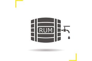 Rum wooden barrel glyph icon