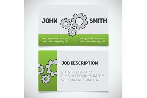Business card print template with gears logo