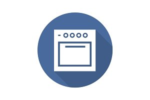 Stove flat design long shadow icon