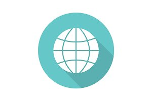 Globe flat design long shadow icon