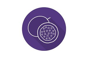 Passion fruit flat linear long shadow icon