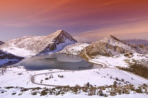 Enol lake in Asturias.