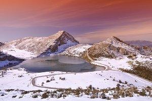 Enol lake in Asturias.