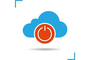 Cloud storage turn off button glyph icon