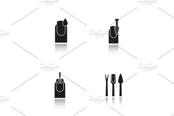 Manicure Drop Shadow Black Icons Set