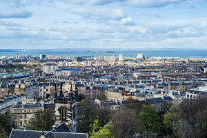 City view on the Houses from the Hill in Edinburgh, Scotland
