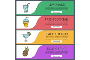 Refreshing drinks banner templates set