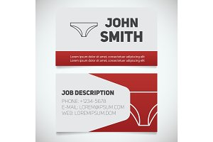 Business card print template with panties logo