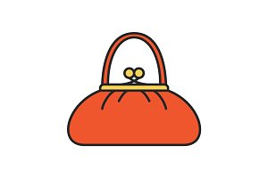 Women's purse color icon