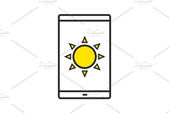 Smartphone Solar Charging Linear Icon