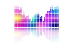 Color music sound equalizer vector