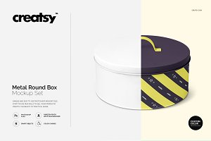 Metal Round Box Mockup Set