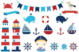 Nautical set with Lighthouse clipart
