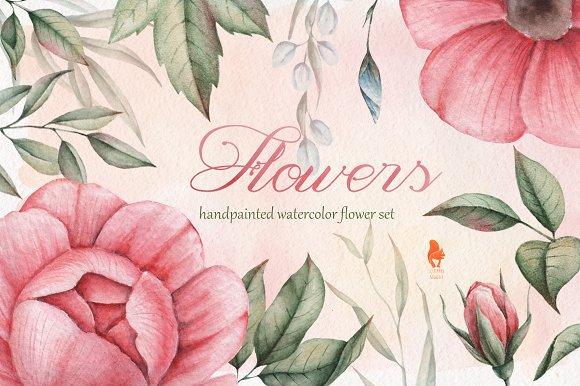 Watercolor Flowers Set Handpainted