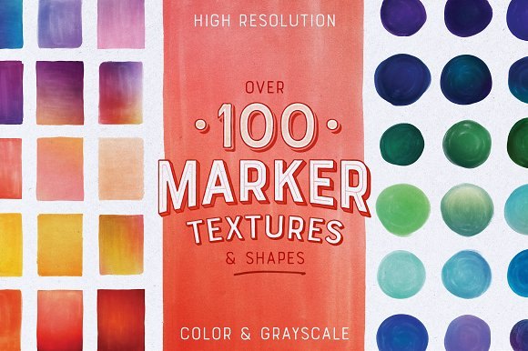 100 Marker Textures Shapes