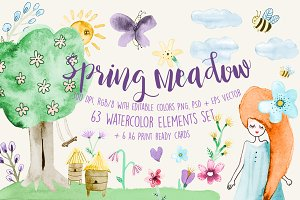 Spring Meadow Watercolor Set