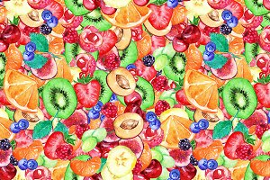 Color fruit berry seamless pattern