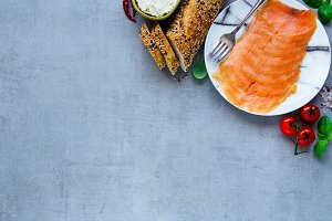 Ingredients for salmon sandwiches