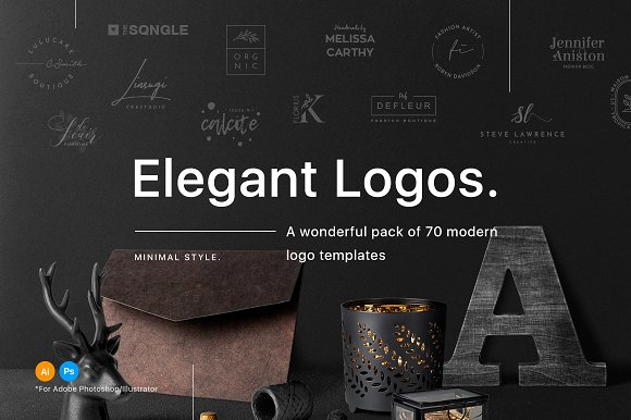 70 Elegant Logos (Extended -Graphicriver中文最全的素材分享平台
