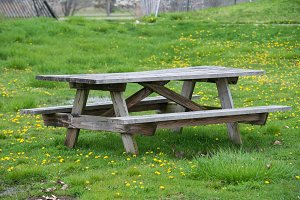 Picnic wooden table with benches