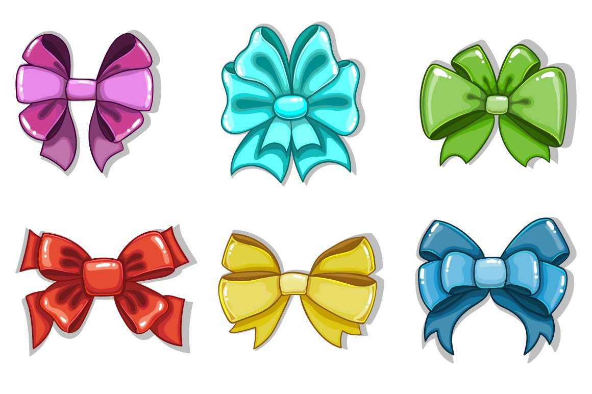 cute cartoon bows graphic objects creative market