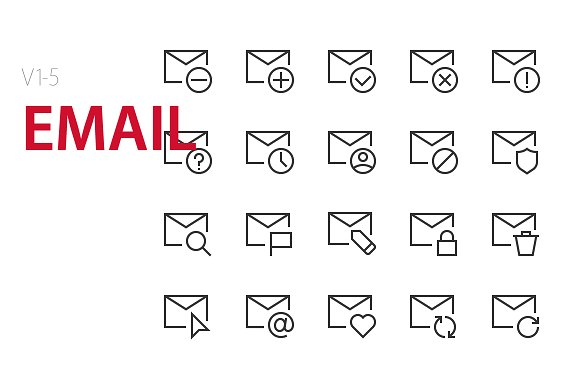 100 Email UI Icons