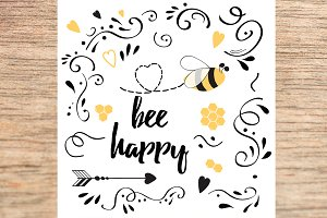 Be Happy hand drawn cute banner