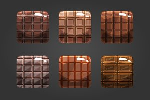 Set of shiny chocolate square button