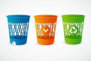 Plastic basket icon set