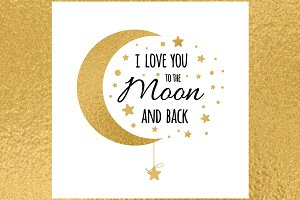 Banner with Love quote, Golden Moon